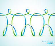 Continuous  ribbon three figures holding hands Stock Photo