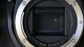 Continuous shooting, shutter curtains in the camera. Close up. stock footage