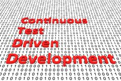 Continuous test driven development. In the form of binary code, 3D illustration Royalty Free Stock Images