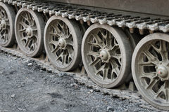 Continuous tracks of heavy tank Royalty Free Stock Photo