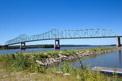 Continuous Truss Bridge. This continuous truss bridge crosses the Illinois River at Lacon, Illinois stock photo