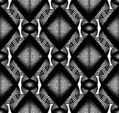 Continuous vector pattern with black graphic lines, decorative Stock Photography
