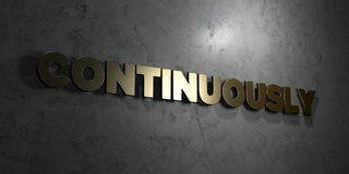 Continuously - Gold text on black background - 3D rendered royalty free stock picture Royalty Free Stock Image