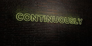 CONTINUOUSLY -Realistic Neon Sign on Brick Wall background - 3D rendered royalty free stock image Stock Photography