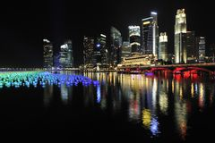 Conto alla rovescia 2010 di Singapore della baia del porticciolo Fotografia Stock