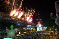 Conto alla rovescia del fuoco d'artificio a Bangkok, Tailandia Fotografia Stock Libera da Diritti