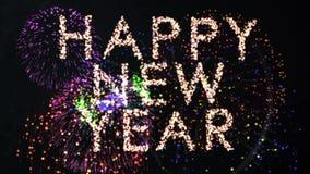 Conto alla rovescia di stile del fuoco d'artificio per il nuovo anno stock footage