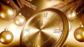 Conto alla rovescia dorato dell'orologio del nuovo anno per il fondo dell'oro animazione 3D 4K illustrazione vettoriale