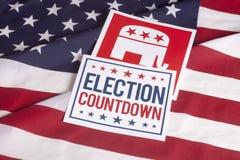 Conto alla rovescia repubblicano e bandiera americana di voto di elezione fotografia stock libera da diritti