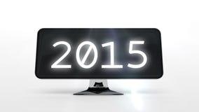 Conto alla rovescia a 2015 sullo schermo di computer video d archivio