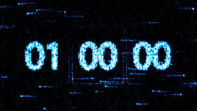 Conto alla rovescia zero Il conto alla rovescia per lo schermo di computer Gli orologi sono messi al 00:00 che inizia un nuovo co Fotografia Stock Libera da Diritti