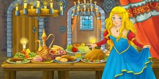Conto de fadas dos desenhos animados com a princesa no castelo pela tabela completamente do alimento que olha e que sorri ilustração stock