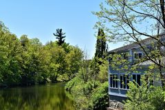 Contoocook River, Town of Peterborough, Hillsborough County, New Hampshire, United States. Scenic landscape view of Contoocook River from downtown Peterborough stock photography