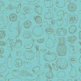 contorne o desenho dos vegetais, frutos, bagas Imagens de Stock