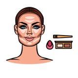 Contorneando, maquillaje, herramientas del maquillaje Foto de archivo