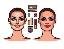 Contorneando, maquillaje, herramientas del maquillaje Imagenes de archivo