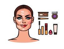 Contorneando, maquillaje, herramientas del maquillaje Foto de archivo libre de regalías
