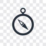 Contornee el icono del vector aislado en el fondo transparente, diseño del logotipo del compás stock de ilustración