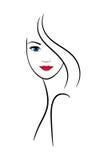Contornee la cara femenina para el balneario y la decoración del salón de belleza Foto de archivo