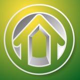 Contornee la casa/el símbolo, el icono o el logotipo del edificio Imágenes de archivo libres de regalías