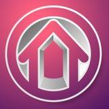 Contornee la casa/el símbolo, el icono o el logotipo del edificio Fotos de archivo