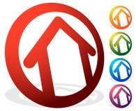 Contornee la casa/el símbolo, el icono o el logotipo del edificio Imagen de archivo