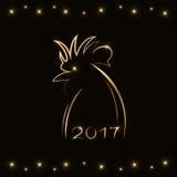Contornee la silueta del gallo en color oro - un símbolo del año 2017 Imagenes de archivo