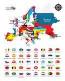 Resuma los mapas de los países con las banderas nacionales Fotografía de archivo