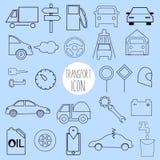 Contornee los iconos en el tema del coche y del vehículo Fotos de archivo libres de regalías
