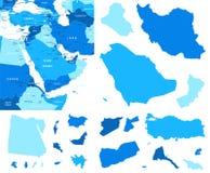 Contorni della mappa e del paese di Medio Oriente - illustrazione Fotografie Stock Libere da Diritti