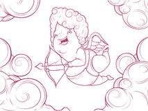 Contorni l'illustrazione del cupido divertente nelle nuvole Fotografia Stock