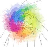 Contorni l'illustrazione delle mani umane ed il segno di pace Immagini Stock Libere da Diritti