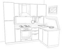 Contorni l'illustrazione tridimensionale di schizzo di in bianco e nero interno della cucina d'angolo moderna Fotografie Stock
