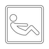 contorni la forma quadrata con le gambe raccolte ABS di esercizio dell'uomo del pittogramma Immagini Stock Libere da Diritti