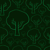 Contorni senza cuciture degli alberi illustrazione vettoriale