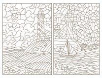 Contorno ajustado com ilustrações de seascapes, de faróis e de navios do vitral ilustração stock