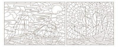 Contorno ajustado com ilustrações do vitral Windows com seascapes, dos navios contra o mar e do céu, contornos escuros em um b br ilustração do vetor