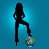 Contorno & mundo da menina da forma Imagens de Stock Royalty Free