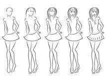 Contorno atrativo das mulheres na sequência do desenho ilustração stock