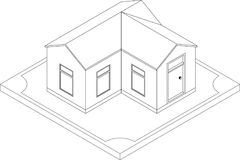 Contorno da casa isométrica Foto de Stock