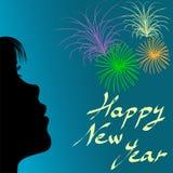 Contorno da menina e dos fogos-de-artifício no ano novo Fotografia de Stock