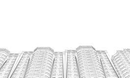 Contorno de casas Visi?n de debajo Casas poligonales de Wireframe aisladas en el fondo blanco Ilustraci?n del vector ilustración del vector