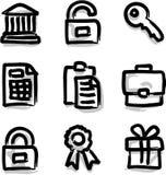 Contorno de la etiqueta de plástico de los iconos del Web del vector financiero Imagen de archivo libre de regalías