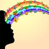 Contorno de la muchacha, de mariposas y del arco iris Imagenes de archivo