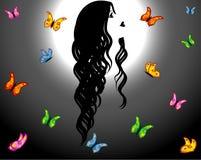 Contorno de la mujer y de mariposas Imágenes de archivo libres de regalías