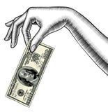 Contorno de la palma de la mano del ` s de la mujer abajo con un billete de banco i de 100 dólares libre illustration