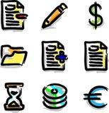 Contorno del color de la etiqueta de plástico de los iconos del Web del vector vario Fotografía de archivo