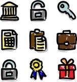 Contorno del color de la etiqueta de plástico de los iconos del Web financiero Fotografía de archivo libre de regalías