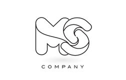 Contorno del profilo del ms Monogram Letter Logo With Thin Black Monogram Immagine Stock