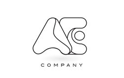 Contorno del profilo di Logo With Thin Black Monogram della lettera del monogramma degli EA Fotografia Stock Libera da Diritti
